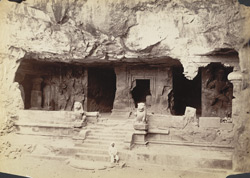[Facade of] Elephanta Caves, Bombay.